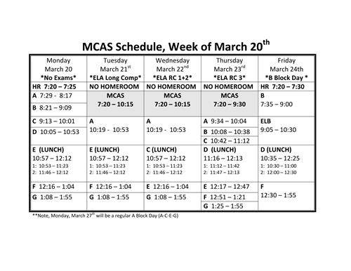 MCAS ELA Schedule - Updated 3.14