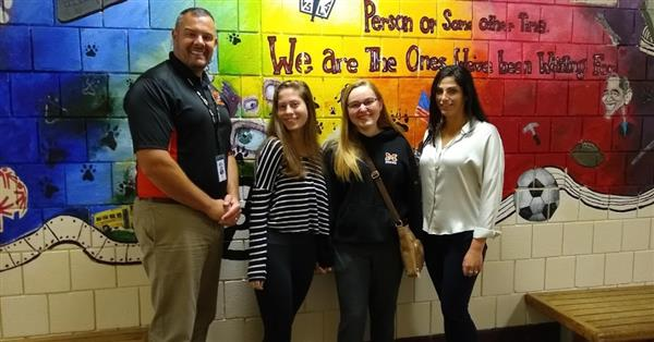 Principal Dan Riley, Hannah Scooler, Sarah Hayward and Guidance Counselor Erika Johnson