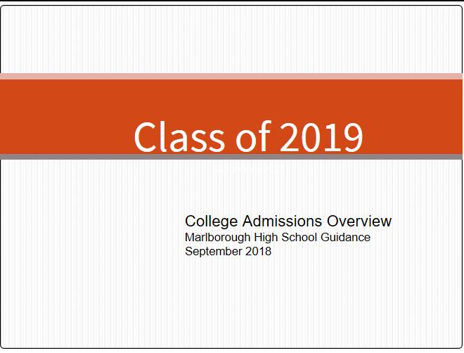 Senior Student/Parent College Admissions Overview 2018-19