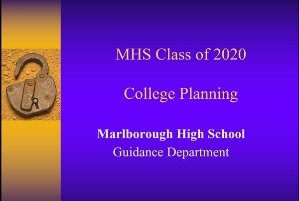 College Planning Presentation - Class of 2020