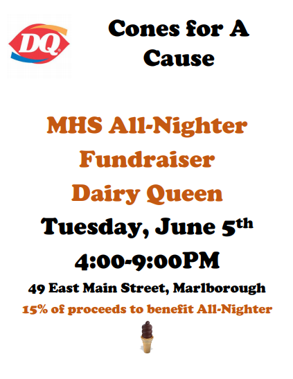 Cones for a Cause. Tue June 5th 4-9pm at Dairy Queen Marlborough